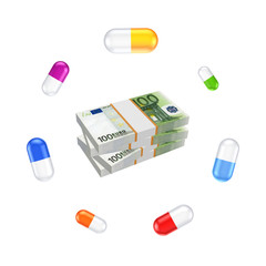 Colorful pills around stack of euro.