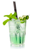 Green alcohol cocktail with fresh mint and cucumber slices isola