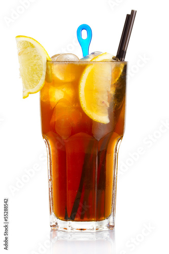 Alcohol cocktail with lemon fruits slices isolated on white