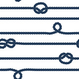 Navy rope and knots striped seamless pattern in blue and white