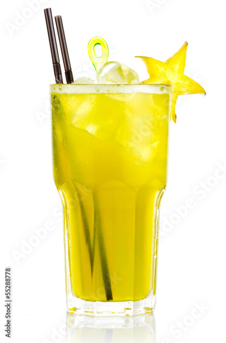 Alcohol cocktail with carambola fruits slices isolated