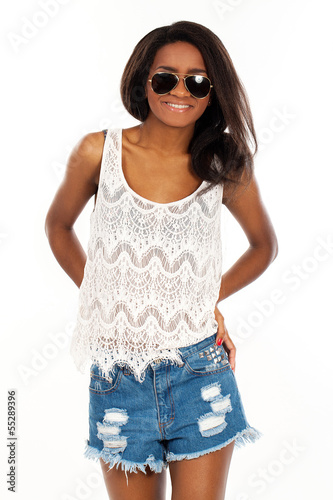 Beautiful smiling woman in sunglasses