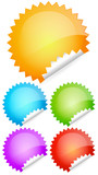 Peeling shiny rounded vector stickers, labels, badges