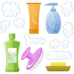 シャンプー ボトル ヘアケア Bottles of body and hair care and beauty products
