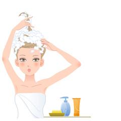 シャンプー 女性 Pretty woman posing funny, soaping her head