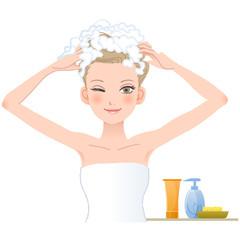 シャンプー,女性 woman soaping her head