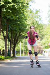 Girl riding rollerblades