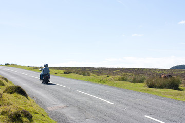 couple of tourists on a motorbike on dartmoor, uk