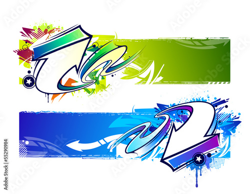 Papiers peints Forme Two abstract graffiti banners