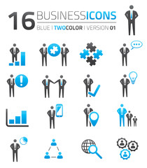 Blue & grey business icon set vector
