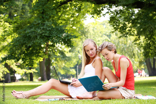 Beautiful girls using laptops at a park