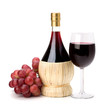 Full red wine glass goblet, bottle and grapes