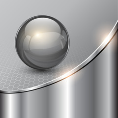 Metallic background with glass sphere