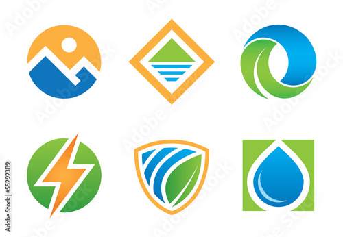 Nature landscape symbol and logo template vector set