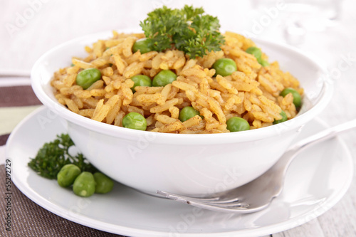 bowl of rice and pea