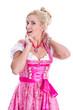 Blondine im bayerischen Kleid isoliert