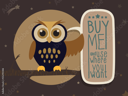Owl with a message board