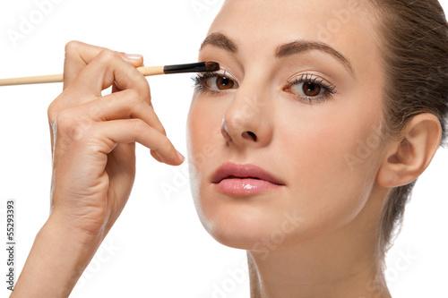 canvas print picture augen makeup mit braunem lidschatten portrait