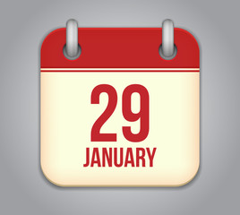 Vector calendar app icon. 29 January