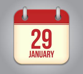 Vector calendar app icon. 29 January