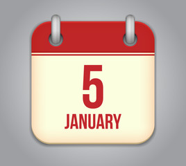 Vector calendar app icon. 5 January