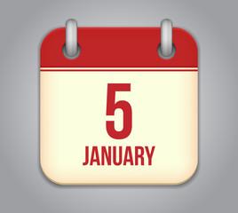 Vector calendar app icon. 5 January