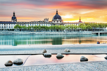 Lyon by sunset in summer