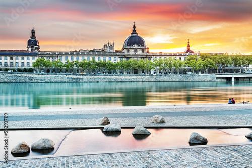 Leinwanddruck Bild Lyon by sunset in summer