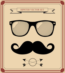 set of Hipster man style graphic elements. vector background