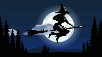 Hexe mit Hexenbesen beim Start
