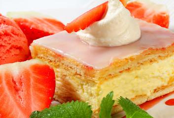 Custard (Vanilla) Slice with strawberries and ice cream