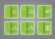 green icon set weather paper abstract eps10