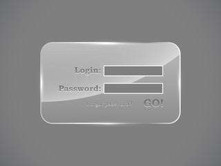 Glass website login glass form vector template