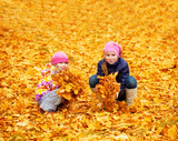 Children at autumn park