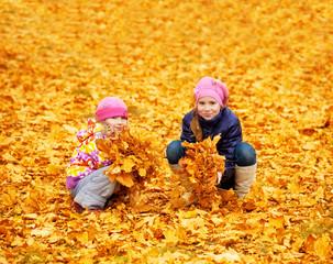 Children at autumn park