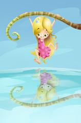 niña colgada en el agua