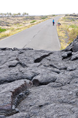 Road closed by lava in Hawaii Volcanoes National Park (USA)