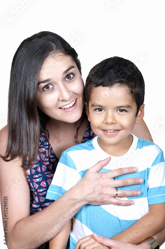Portrait of nice boy with mother