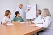 Arzt im Meeting erkäutert Plan