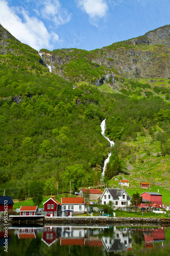 Village and Sea view on mountains in  fjord, Norway
