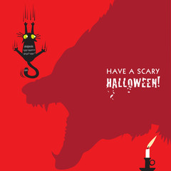 Scared black cat Halloween card