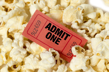 Popcorn With Red Movie Ticket
