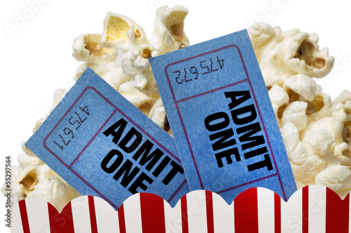 Movie Tickets And Popcorn Isolated On White