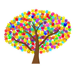 Holiday tree with flowers and balloons