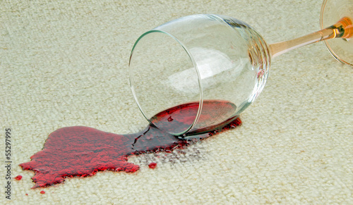 canvas print picture A spilled glass of red wine on a carpet