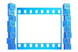 A collection of thumbs up in front of film frame template