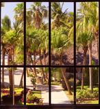 view of a tropical garden through a panoramic window - 55298953