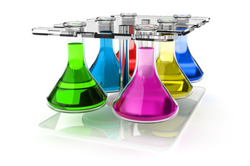 Test tube holder with bottles of liquid of different colors