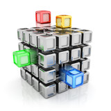 Composite silver cube with some colorful elements