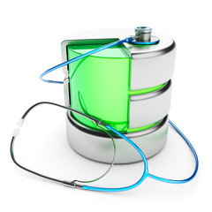 Data storage diagnostics. Server administration concept.